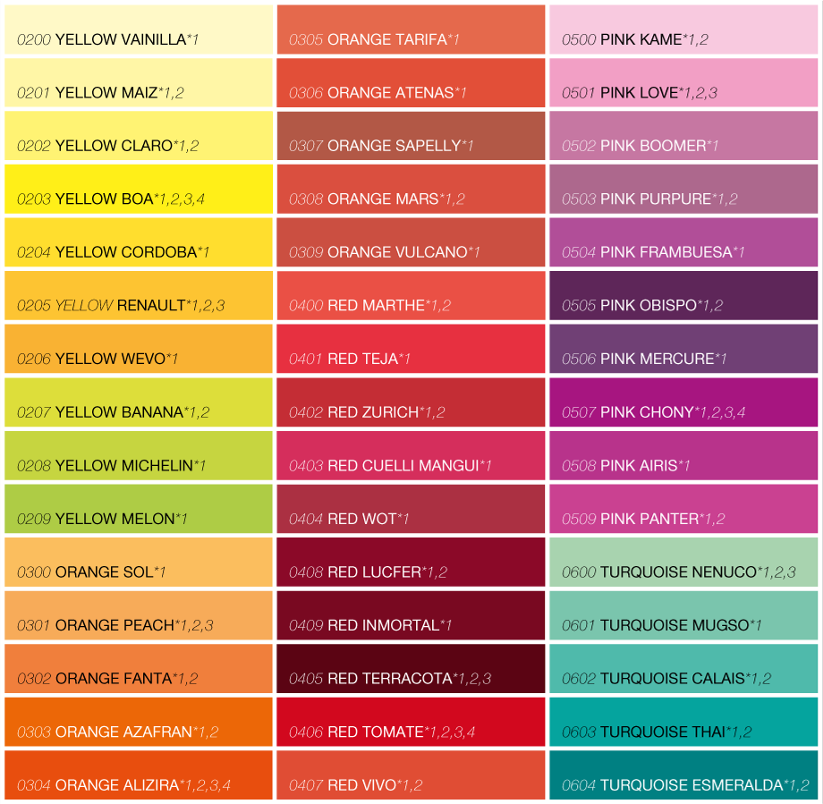 Daycolors Distribution Colorchart